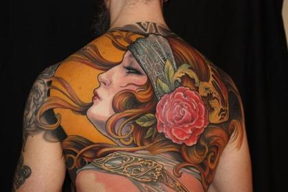 tattoo backpiece by artist Jeff Gogue art nouveau style