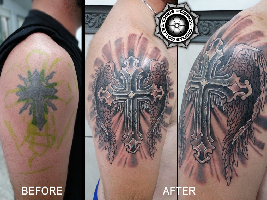cross tattoo cover up wings angelic cosmos chris cyprus limassol