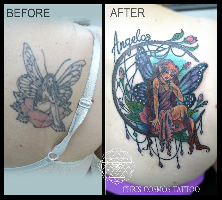 fairy tattoo cover before after cosmos