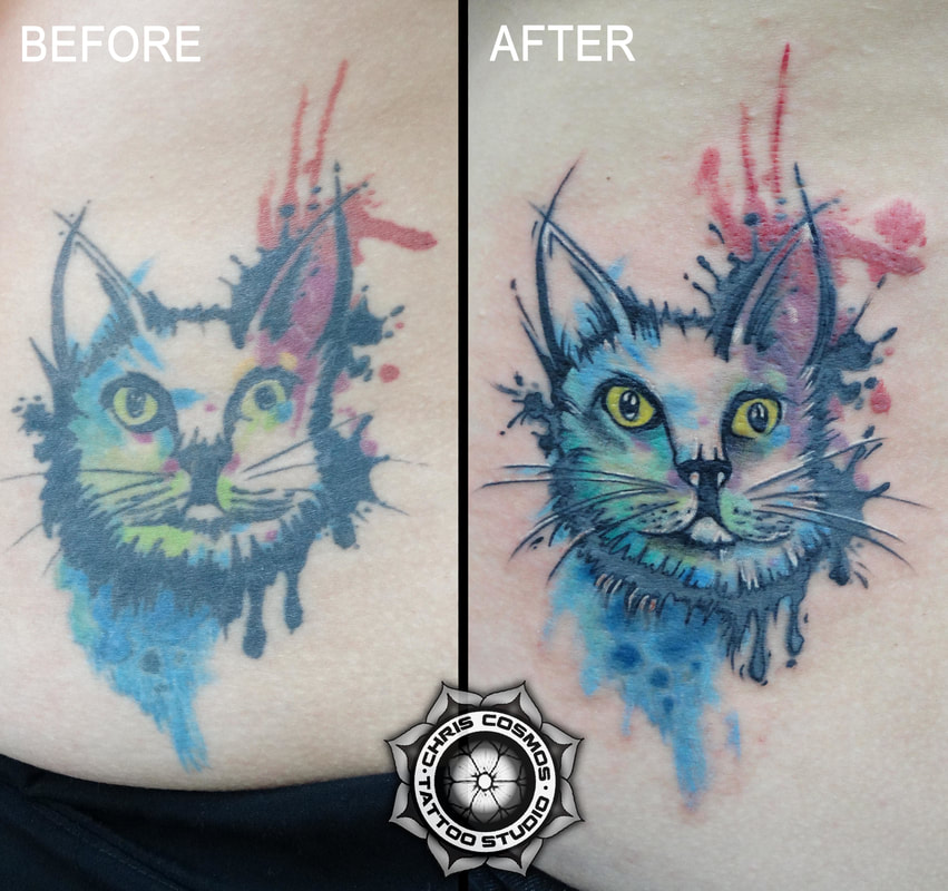 cat tattoo watercolor cover before after