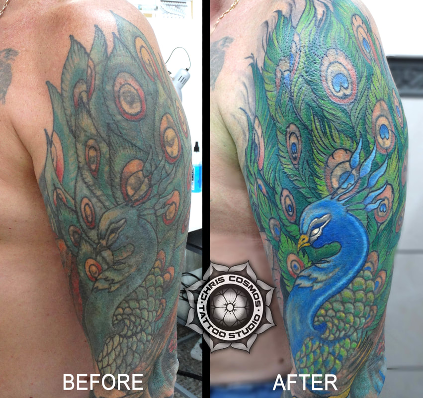 peacock before after tattoo