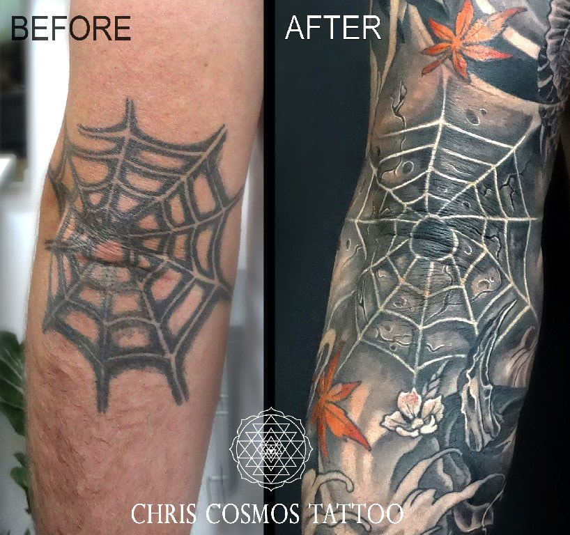 spider web tattoo cover